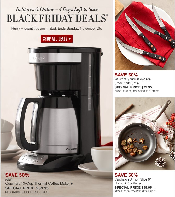 Williams-Sonoma: Save 50% on Cuisinart Coffee Maker + More Black Friday Deals! 4 Days Left Milled