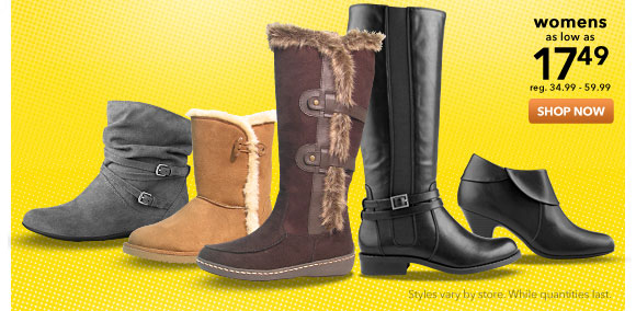 Select womens boots up to 50% off - shop now!