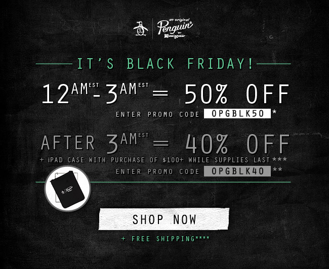 It's Black Friday! 50% off From 12-3am - 40% off after 3am