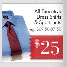 Executive Dress Shirts & Sportshirts - $25 USD