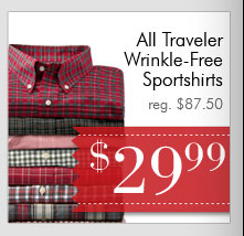 Traveler Wrinkle-Free Sportshirts - $29.99 USD