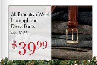 Executive Wool Herringbone Dress Pants - $39.99 USD