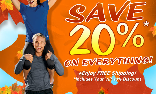 Save 20 percent on everything!