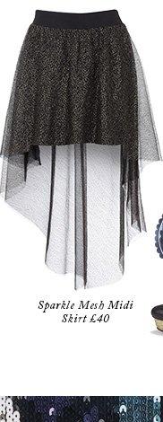Sparkle Mesh Midi Skirt