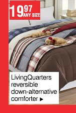 19.97 any size - LivingQuarters reversible down-alternative comforter