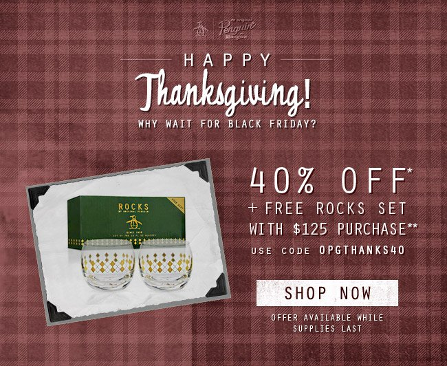 Happy Thanksgiving, Take 40% Off + Gift with purchase