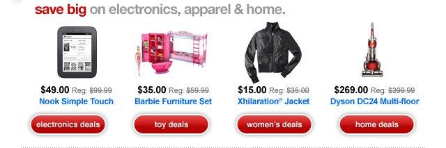 save big on electronics, apparel and home.