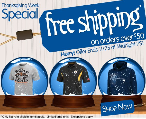 Thanksgiving Week Special. Free Shipping on order over $50