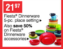 Fiesta(R) Dinnerware 5-pc. place setting. Also save 50% on Fiesta®  Dinnerware accessories