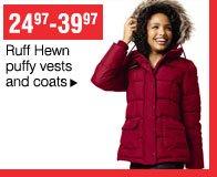 24.97-39.97 Ruff Hewn puffy vests and coats