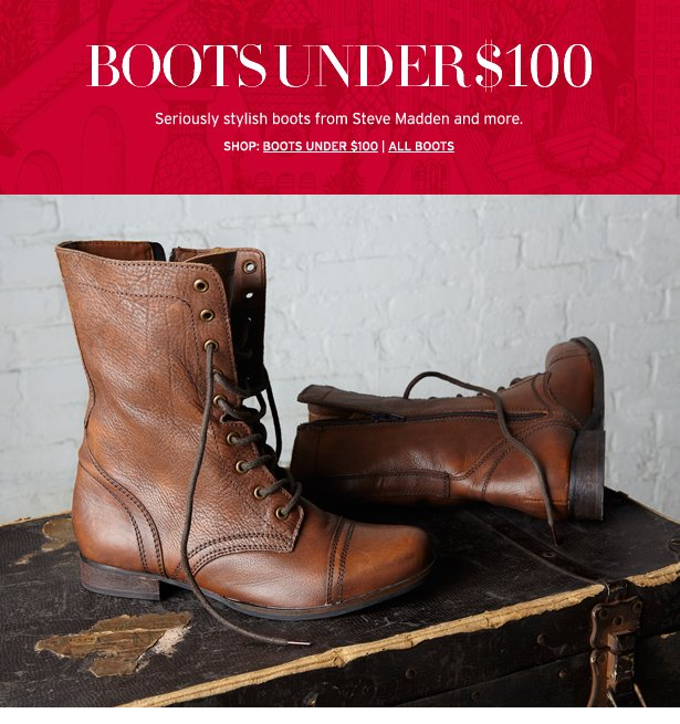 BOOTS UNDER $100 - Seriously stylish boots from Steve Madden and more.