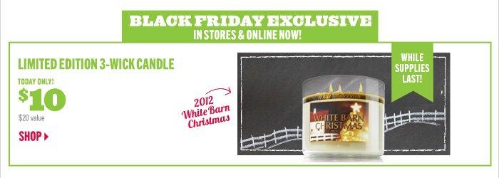 $10 White Barn Christmas Candle