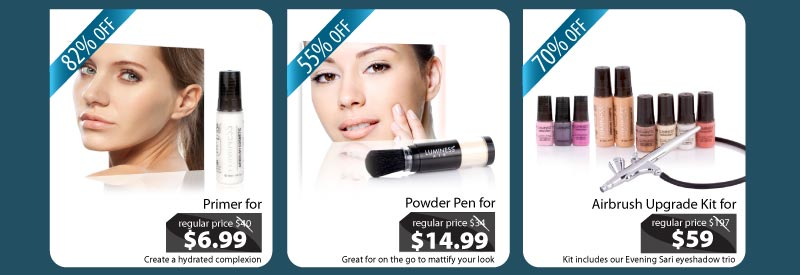 Purchase our Primer for $6.99, our Powder for $14.99 and our Airbrush Upgrade Kit for $59.