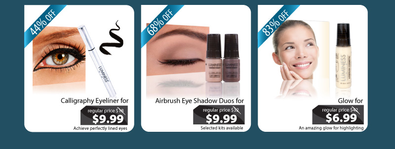 Purchase our Calligraphy Eyeliner for $9.99, our Airbrush Eyeshadow Duo for $9.99 and our Glow for $6.99.