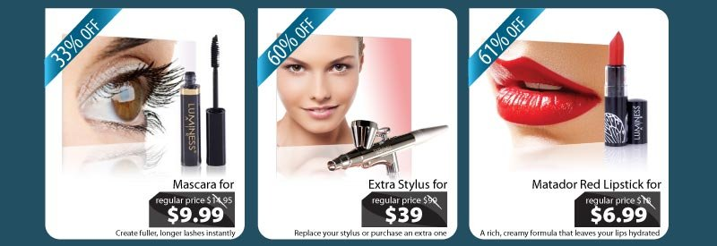 Purchase our Mascara for $9.99, our Stylus for $39 and our Matador Red Lipstick for $6.99.