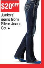 $20 off Juniors' jeans from Silver Jeans Co.