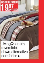 Door Buster! 19.97 any size LivingQuarters reversible down-alternative comforter