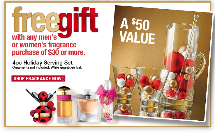 FREE 4pc Glassware Set with $30 fragrance purchase!