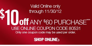 $10 off any $60 purchase