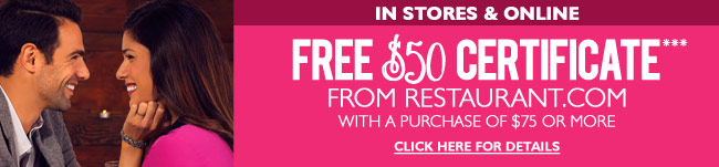 Restaurant.com $50 Certificate with $75 Purchase - In Stores and Online