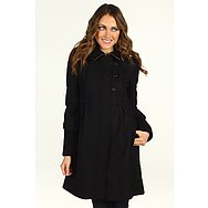 DKNY Knit Trim Babydoll Coat