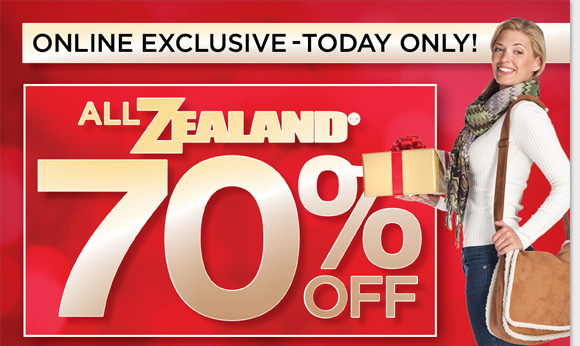 Today only, shop online and save 70% on ALL Zealand! Get great slippers, scarves, blankets, bags and more for women and men for $5 and up! Hurry to find the best selection when you shop online now at The Walking Company.
