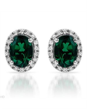 Ladies Emerald Earrings Designed In 10K White Gold