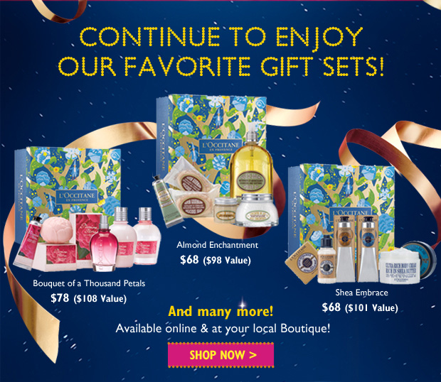 Continue to enjoy your favorite gift sets! Available Online and in Boutiques. Discover >