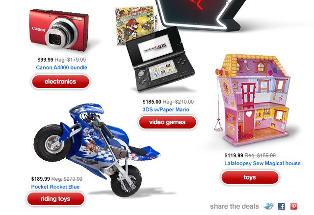 Electronics, video games, toys and riding toys