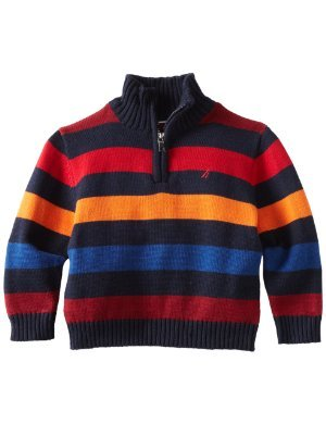 Nautica <br/> One-Fourth Zip Multi Stripe Sweater