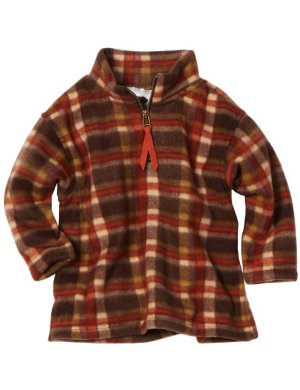 Mulberribush <br/> Half Zip Polar Fleece Sweat Shirt Plaid