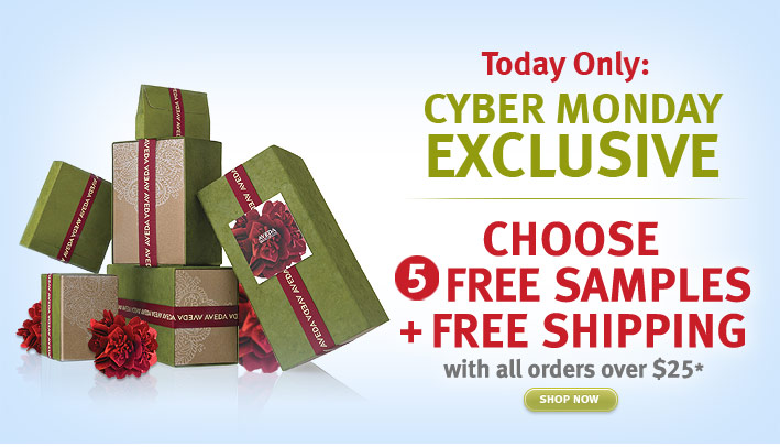 today only: cyber monday  exclusive. choose 5 free samples + free shipping with all orders over  $25. shop now.