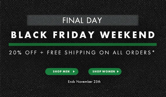 FINAL DAY Black Friday - 20% Off + Free Shipping on All Orders