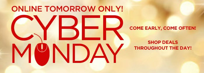 Online Tomorrow Only! Cyber Monday Savings!