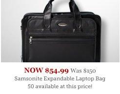 Samsonite Expandable Leather Top-Zip Laptop Bag