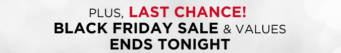PLUS, Last Chance! Black Friday Sale And Values Ends Tonight