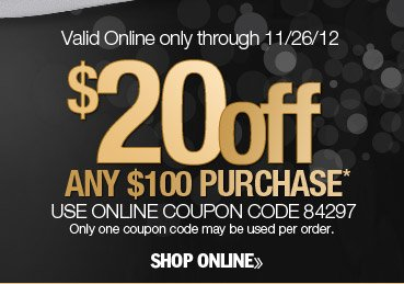 $20 off any $100 purchase