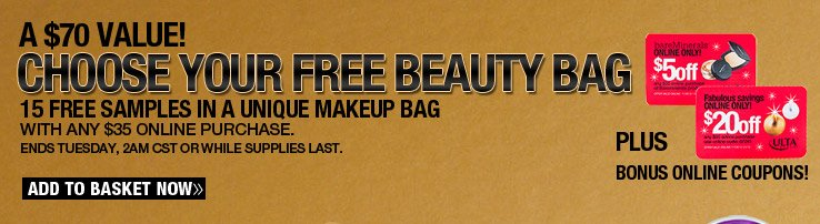 Choose Your FREE Beauty Bag