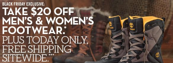 Black Friday Exclusive: Take $20 off Men's and Women's Footwear.* Plus today only, free shipping sitewide.***