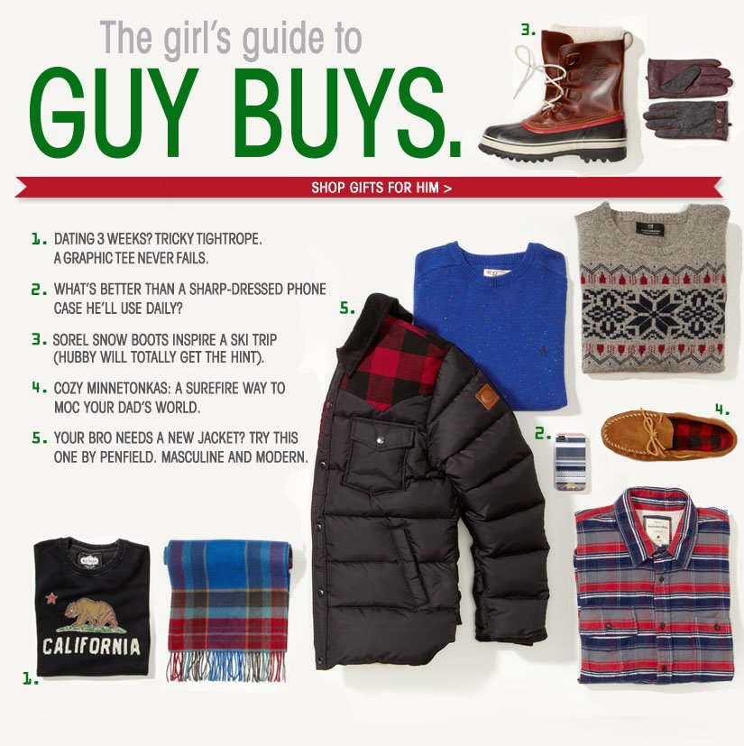 The girl's guide to GUY BUYS. SHOP GIFTS FOR HIM