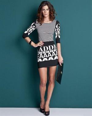 Lolavien Two-Tone Stripe & Letter Pattern Dress