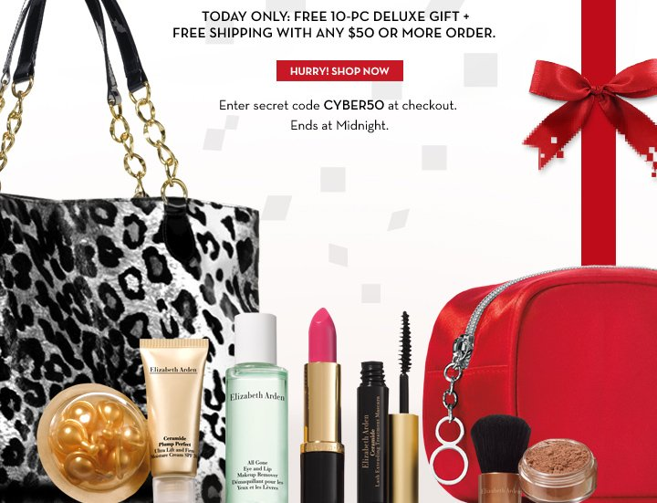 TODAY ONLY: FREE 10-PC DELUXE GIFT + FREE SHIPPING WITH ANY $50 OR MORE ORDER. Enter secret code CYBER50 at checkout. Ends at Midnight. HURRY! SHOP NOW.