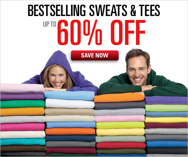 Up to 60% off sweats and tees