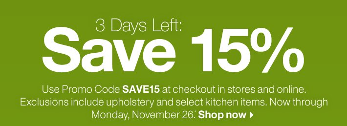 3 Days Left: Save 15%