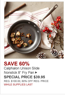 "SAVE 60% - Calphalon Unison Slide Nonstick 8"" Fry Pan - SPECIAL PRICE $39.95 - REG. $100.00, 60% OFF REG. PRICE - WHILE SUPPLIES LAST"