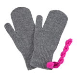 Paul Smith Gloves - Grey Knitted Mittens with Pink String
