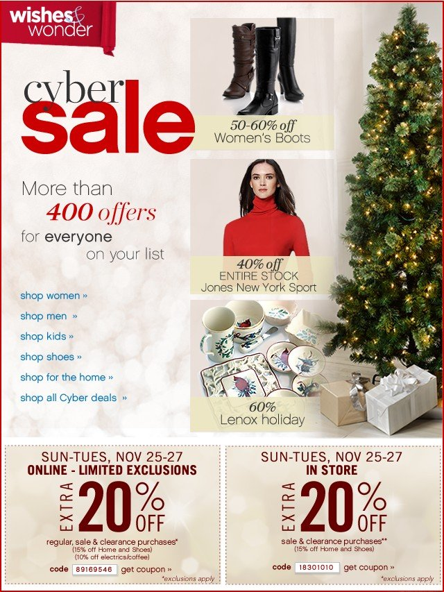 Cyber Sale with over 330 offers. Extra 20% off. Get coupon.