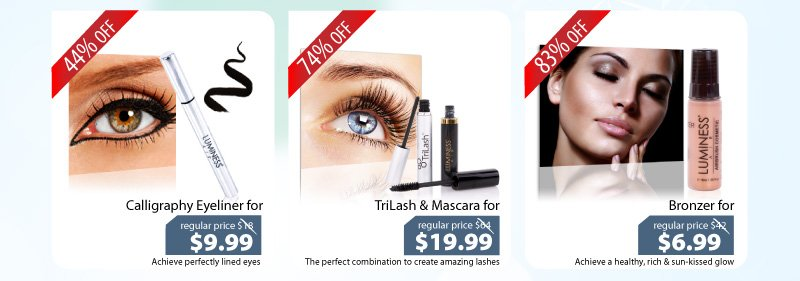 Purchase our Calligraphy Eyeliner for $9.99, our Trilash & Mascara for $19.99 or our Bronzer for $6.99.