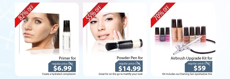 Purchase our Primer for $6.99, our Powder for $14.99 or our Airbrush Upgrade Kit for $59.