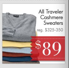 Traveler Cashmere Sweaters - $89 USD